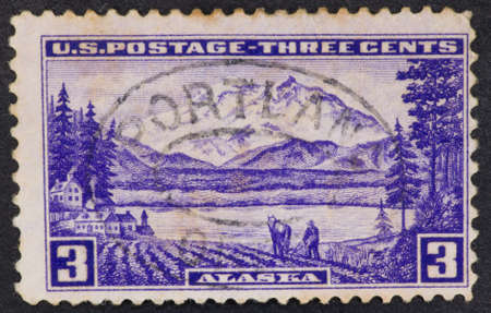 mckinley: USA - Circa 1937:A Cancelled postage stamp from the USA illustrating Mount McKinley, issued in 1937.