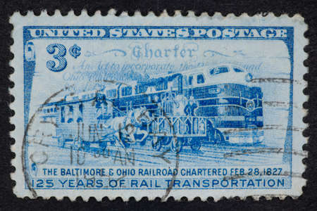 philatelic: USA - Circa 1952:A Cancelled postage stamp from the USA illustrating 125 years of Rail transportation, issued in 1952.