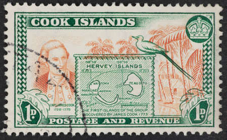 philatelic: COOK ISLANDS - CIRCA 1900s: A Cancelled postage stamp from Cook Islands illustrating discovery of island group by Captain James Cook