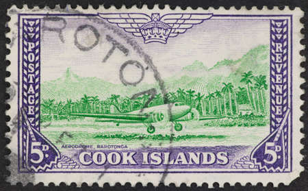 rarotonga: COOK ISLANDS - CIRCA 1900s: A Cancelled postage stamp from Cook Islands illustrating Rarotonga Aerodrome. Editorial