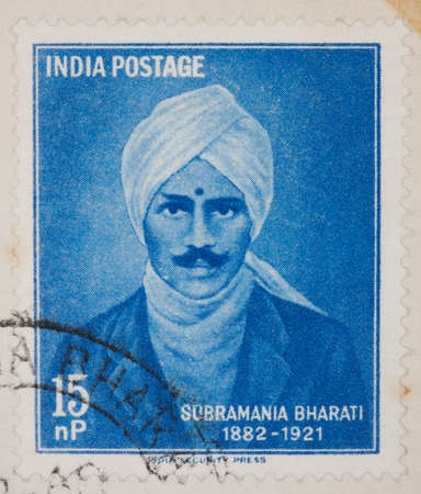 philatelic: INDIA - CIRCA 1960: A Cancelled postage stamp from India illustrating Subramania Bharati, issued in 1963.