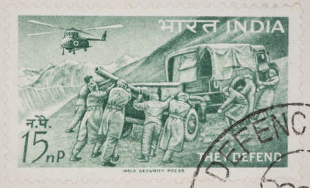 philatelic: INDIA - CIRCA 1963: A Cancelled postage stamp from India illustrating Indian Armed Forces, issued in 1963. Editorial