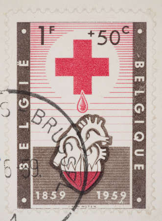 philatelic: BELGIUM - CIRCA 1959: A Cancelled postage stamp from Belgium illustrating Red Cross, issued in 1959. Editorial