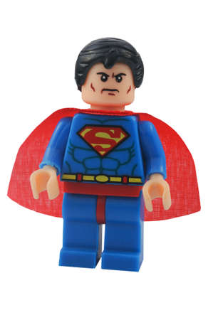 lego: ADELAIDE, AUSTRALIA - January 06 2015:A studio shot of an Superman Lego minifigure from the DC Comics and Movies. Lego is extremely popular worldwide with children and collectors.