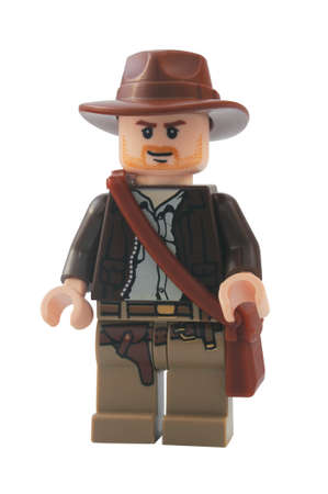 lego: ADELAIDE, AUSTRALIA - January 06 2015:A studio shot of an Indiana Jones Lego minifigure from the popular movie series. Lego is extremely popular worldwide with children and collectors.