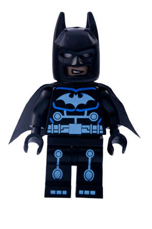 batman: ADELAIDE, AUSTRALIA - January 06 2015:A studio shot of an Electro Batman Lego minifigure from the DC Comics and Movies. Lego is extremely popular worldwide with children and collectors.