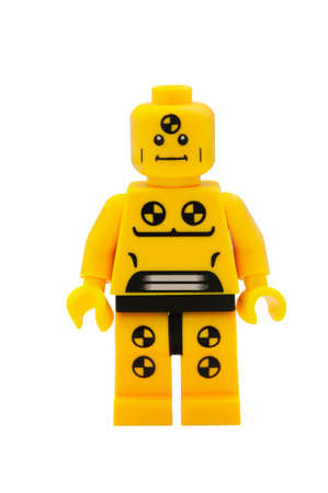 dummy: ADELAIDE, AUSTRALIA - January 09 2015:A studio shot of a Demolition Dummy Lego minifigure from the series 1 isuue in 2010. Lego is extremely popular worldwide with children and collectors.