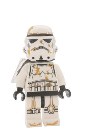 stormtrooper: ADELAIDE, AUSTRALIA - January 09 2015:A studio shot of an Sandtrooper Lego minifigure from the Star Wars Movie Series. Lego is extremely popular worldwide with children and collectors.