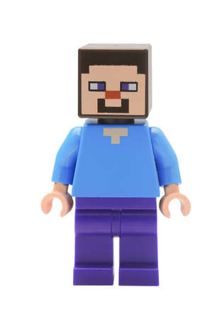 lego: ADELAIDE, AUSTRALIA - January 09 2015:A studio shot of an Steve Lego minifigure from the popular Minecraft game. Lego is extremely popular worldwide with children and collectors.
