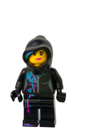 lego: ADELAIDE, AUSTRALIA - August 26 2014:A studio shot of a Wyldstyle Lego minifigure from the Lego movie. Lego is extremely popular worldwide with children and collectors. Editorial
