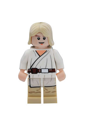 collectable: ADELAIDE, AUSTRALIA - January 09 2015:A studio shot of an Luke Skywalker Lego minifigure from the Star Wars Movie Series. Lego is extremely popular worldwide with children and collectors. Editorial