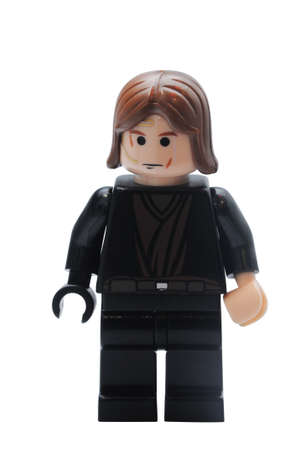 lego: ADELAIDE, AUSTRALIA - January 09 2015:A studio shot of an Anakin Skywalker Lego minifigure from the Star Wars Movie Series. Lego is extremely popular worldwide with children and collectors. Editorial