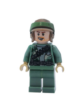 commando: ADELAIDE, AUSTRALIA - January 09 2015:A studio shot of an Rebel Commando Lego minifigure from the Star Wars Movie Series. Lego is extremely popular worldwide with children and collectors.