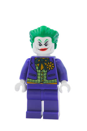 batman: ADELAIDE, AUSTRALIA - January 09 2015:A studio shot of a Joker Lego minifigure from the DC Comics and Movies. Lego is extremely popular worldwide with children and collectors.
