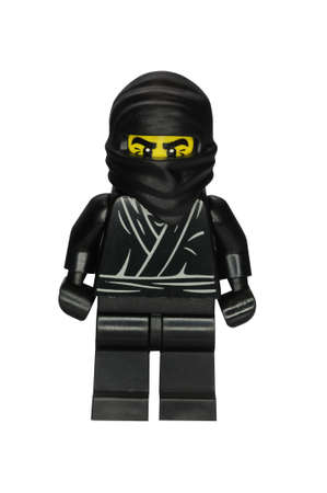 lego: ADELAIDE, AUSTRALIA - January 09 2015:A studio shot of a Ninja Lego minifigure from Minifigure Series 1. Lego is extremely popular worldwide with children and collectors. Editorial