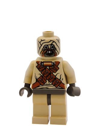 raider: ADELAIDE, AUSTRALIA - January 09 2015:A studio shot of an Tusken raider Lego minifigure from the Star Wars Movie Series. Lego is extremely popular worldwide with children and collectors.
