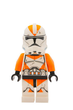 clone: ADELAIDE, AUSTRALIA - January 09 2015:A studio shot of a 212th Clone Trooper Lego minifigure from the Star Wars Movie Series. Lego is extremely popular worldwide with children and collectors.