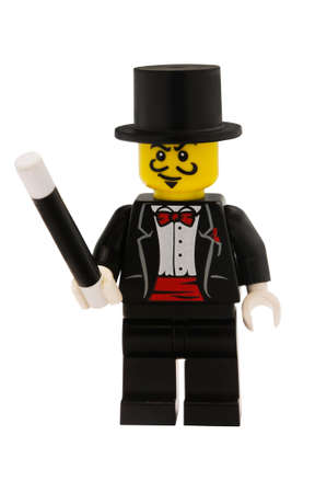 lego: ADELAIDE, AUSTRALIA - January 09 2015:A studio shot of a Magician Lego minifigure from the series 1 issue in 2010. Lego is extremely popular worldwide with children and collectors. Editorial