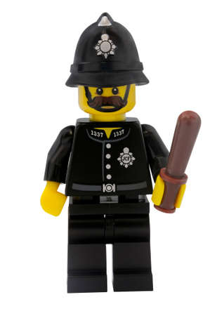 constable: ADELAIDE, AUSTRALIA - January 09 2015:A studio shot of a Constable Lego minifigure from the series 11 issue in 2013. Lego is extremely popular worldwide with children and collectors.