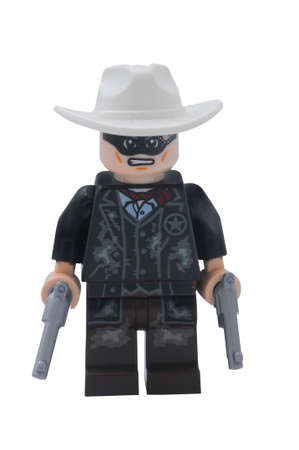 lego: ADELAIDE, AUSTRALIA - January 09 2015:A studio shot of a Lone Ranger Lego minifigure from the movie and TV Series. Lego is extremely popular worldwide with children and collectors.