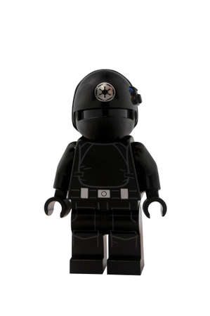 gunner: ADELAIDE, AUSTRALIA - January 09 2015:A studio shot of an Imperial Gunner Lego minifigure from the Star Wars Movie Series. Lego is extremely popular worldwide with children and collectors.
