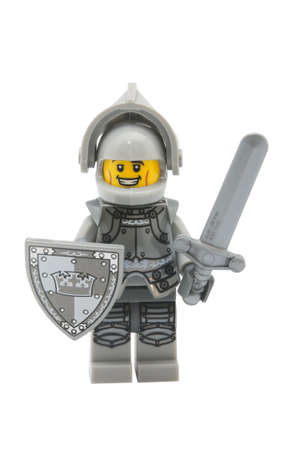 ADELAIDE, AUSTRALIA - January 09 2015:A studio shot of a Heroic Knight Lego minifigure from Minifigure Series 9. Lego is extremely popular worldwide with children and collectors.