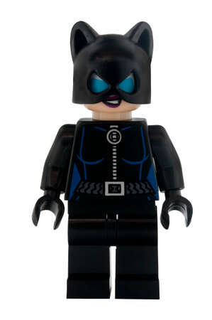 lego: ADELAIDE, AUSTRALIA - January 30 2015:A studio shot of a Catwoman Lego minifigure from the DC Comics and Movies. Lego is extremely popular worldwide with children and collectors.