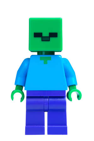 collectable: ADELAIDE, AUSTRALIA - February 06 2015:A studio shot of an Zombie Lego minifigure from the popular Minecraft game. Lego is extremely popular worldwide with children and collectors. Editorial