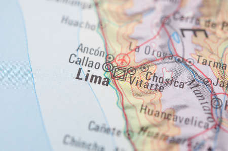 lima: The city of Lima on a map Stock Photo