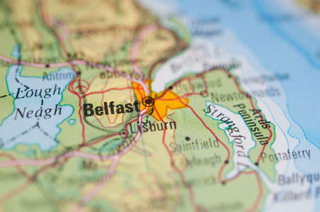 belfast: The city of Belfast on a map