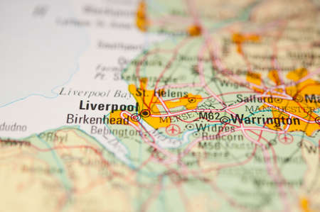 liverpool: The city of Liverpool on a map Stock Photo