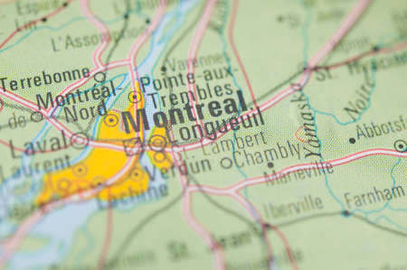 montreal: The city of Montreal on a map Stock Photo