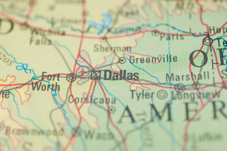 The city of Dallas on a map