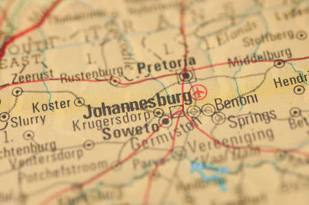 The city of Johannesburg on a map
