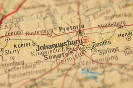 johannesburg: The city of Johannesburg on a map