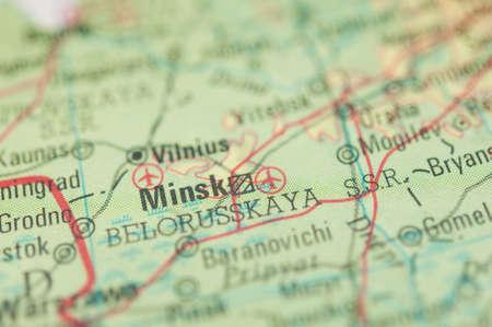 minsk: The city of Minsk on a map