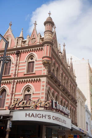 local landmark: ADELAIDE, AUSTRALIA - November 16 2014: The local landmark of Beehive Corner of the corner of King William Street, Hindley Street and Rundle Mall. a historice landmark orirnally constructed between 1895-97