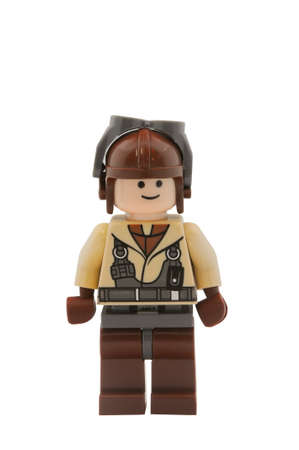 lego: ADELAIDE, AUSTRALIA - January 09 2015:A studio shot of a Naboo Pilot Lego minifigure from the Star Wars Movie Series. Lego is extremely popular worldwide with children and collectors.