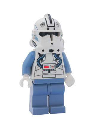 klon: ADELAIDE, AUSTRALIA - January 09 2015:A studio shot of a Clone Pilot Lego minifigure from the Star Wars Movie Series. Lego is extremely popular worldwide with children and collectors.