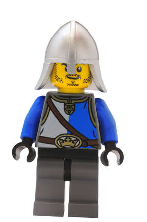 collectable: ADELAIDE, AUSTRALIA - January 09 2015:A studio shot of an Gallant Guard Lego minifigure from the Lego movie. Lego is extremely popular worldwide with children and collectors. Editorial