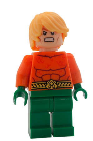 compatible: ADELAIDE, AUSTRALIA - January 30 2015:A studio shot of an Aquaman Lego Compatible minifigure from the DC Comics and Movies. Lego is extremely popular worldwide with children and collectors.