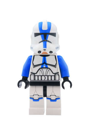 clone: ADELAIDE, AUSTRALIA - January 09 2015:A studio shot of a 501st Clone Trooper Lego minifigure from the Star Wars Movie Series. Lego is extremely popular worldwide with children and collectors.