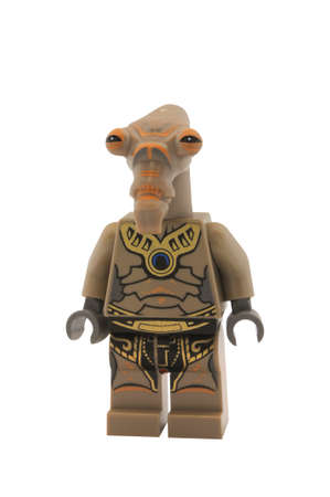 clone: ADELAIDE, AUSTRALIA - January 09 2015:A studio shot of a Geonosian Warrior Lego minifigure from the Star Wars Movie Series. Lego is extremely popular worldwide with children and collectors.