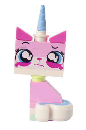 queasy: ADELAIDE, AUSTRALIA - March 10 2015:A studio shot of a UniKitty Lego minifigure from the Lego movie. Lego is extremely popular worldwide with children and collectors.