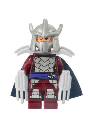 shredder: ADELAIDE, AUSTRALIA - March 10 2015:A studio shot of a Shredder Lego minifigure from the TMNT TV and Movie Series. Lego is extremely popular worldwide with children and collectors.