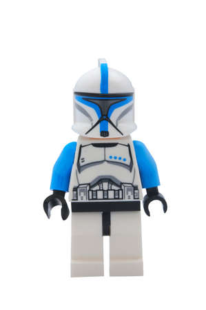 ADELAIDE, AUSTRALIA - January 09 2015:A studio shot of a Clone Trooper Lego minifigure from the Star Wars Movie Series. Lego is extremely popular worldwide with children and collectors.