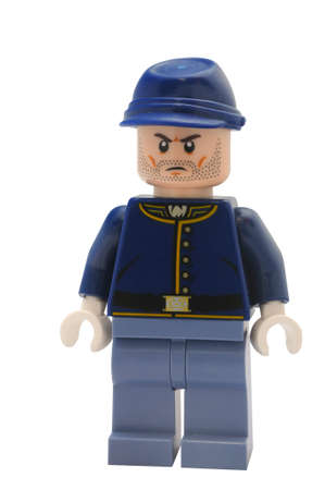 rifleman: ADELAIDE, AUSTRALIA - January 09 2015:A studio shot of aNavarro Rifleman Lego minifigure from the Lone Ranger movie and TV Series. Lego is extremely popular worldwide with children and collectors.