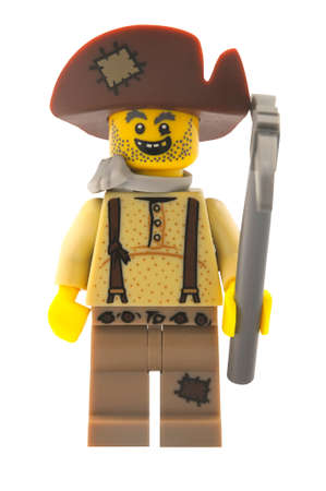 prospector: ADELAIDE, AUSTRALIA - January 09 2015:A studio shot of a Prospector Lego minifigure from Minifigure Series 12. Lego is extremely popular worldwide with children and collectors.