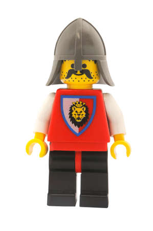 ADELAIDE, AUSTRALIA - January 09 2015:A studio shot of a Knight Lego minifigure from Castle Theme. Lego is extremely popular worldwide with children and collectors.
