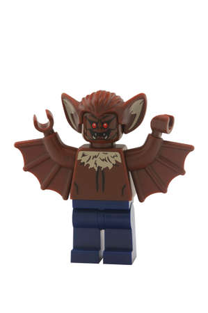 batman: ADELAIDE, AUSTRALIA - January 09 2015:A studio shot of a Man-bat Lego minifigure from the Batman Movie,game and TV Series. Lego is extremely popular worldwide with children and collectors.